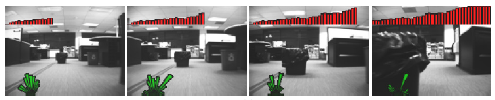 warnings as a robot drives around an office